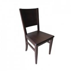 Silla Nápoles madera color nogal oscuro con asiento de madera