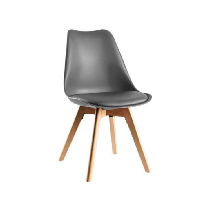 Silla escandinava inspiración eames con patas en madera de haya para hostelería y comedor