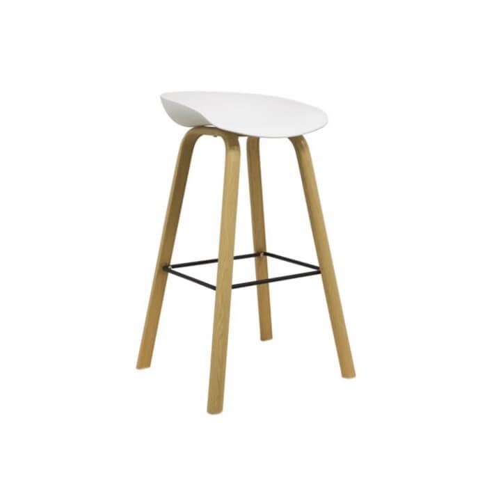 Taburete nórdico metal imitación madera y asiento de plástico para hostelería y hogar o barra